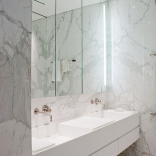Bathroom Modern White Tile And Marble Floor Idea In Toronto With An