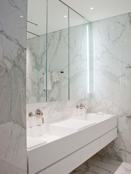 White Marble Bathroom | Houzz