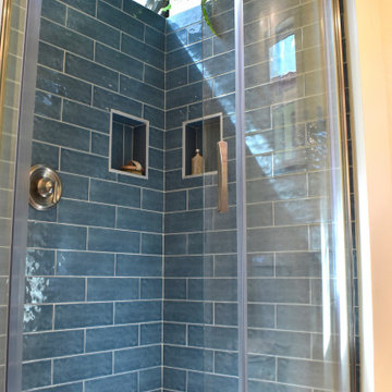 The Oasis Tiny Home Bathroom- Blue Tile Shower