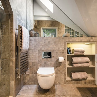 Beautiful Medium Sized Contemporary Bathroom In Other With Flat Panel Cabinets, White  Cabinets, A