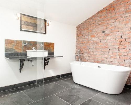 salle de bain industrielle avec du carrelage en ardoise photos et id es d co de salles de bain. Black Bedroom Furniture Sets. Home Design Ideas