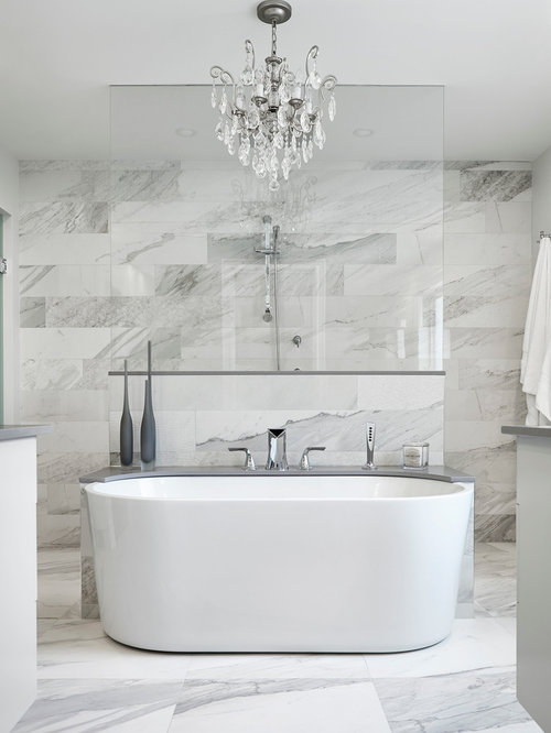 Inspiration For A Transitional Master Bathroom Remodel In Toronto With A  Freestanding Tub, Gray Tile