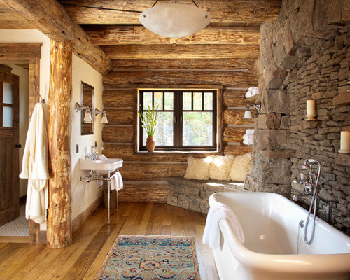 Delightful Mountain Style Freestanding Bathtub Photo In Other With A Console Sink