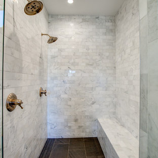 Huge country master white tile and marble tile ceramic floor and gray floor bathroom photo in Richmond with shaker cabinets, turquoise cabinets, a one-piece toilet, white walls, an undermount sink, granite countertops and a hinged shower door