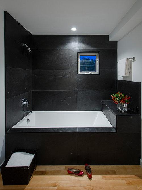Inspiration For A Contemporary Slate Tile Bathroom Remodel In Burlington