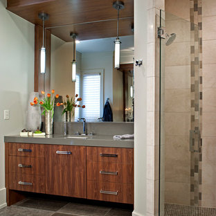 Large Minimalist Master Gray Tile And Stone Limestone Floor Bathroom Photo In Other With An