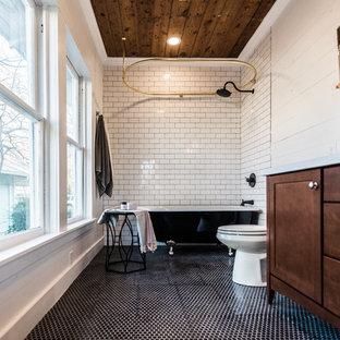 75 Most Popular Midcentury Modern Black And White Tile Bathroom