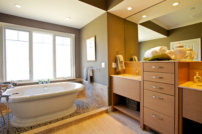 Transitional Bathroom by Northland Residential Corporation