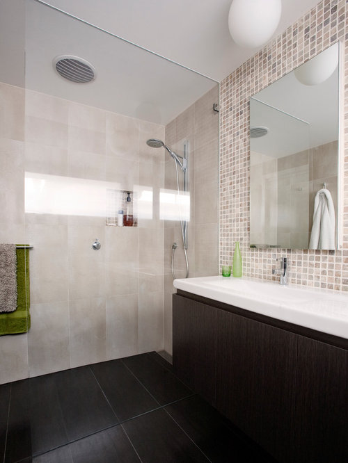example of a trendy mosaic tile bathroom design in melbourne
