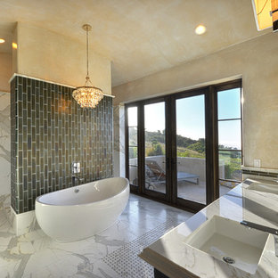 Bathroom - huge contemporary master gray tile, white tile and marble tile marble floor and white floor bathroom idea in San Francisco with marble countertops, raised-panel cabinets, beige walls, an undermount sink, gray countertops and dark wood cabinets