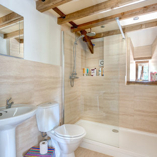 Example of a country bathroom design in Devon with a pedestal sink