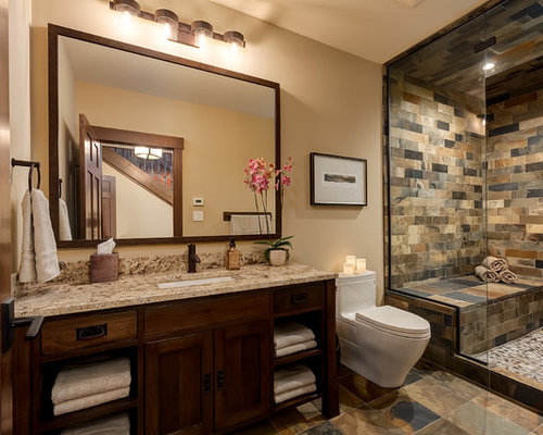 Large Arts And Crafts 3/4 Brown Tile And Slate Tile Slate Floor Alcove  Shower