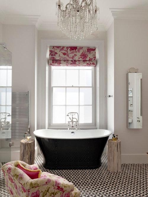 Freestanding Bathtub   Traditional Master Freestanding Bathtub Idea In  Sussex With Gray Walls