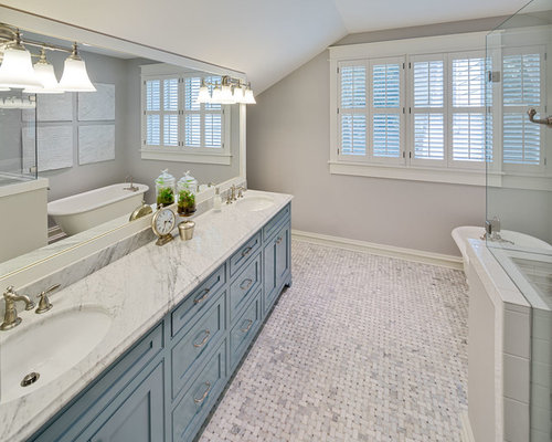 Off Bathroom Design Ideas, Remodels & Photos with Blue Cabinets and ...