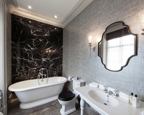 Black and grey bathroom houzz for Black and grey bathroom decor