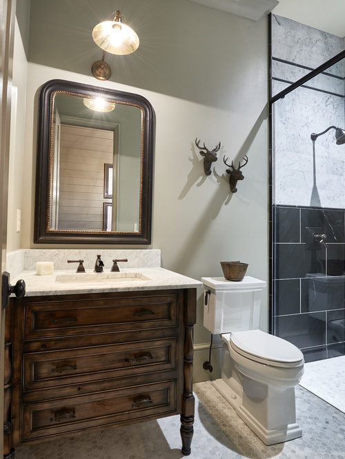 Bathroom design ideas renovations photos with black tile and beige walls - Black and beige bathroom ...