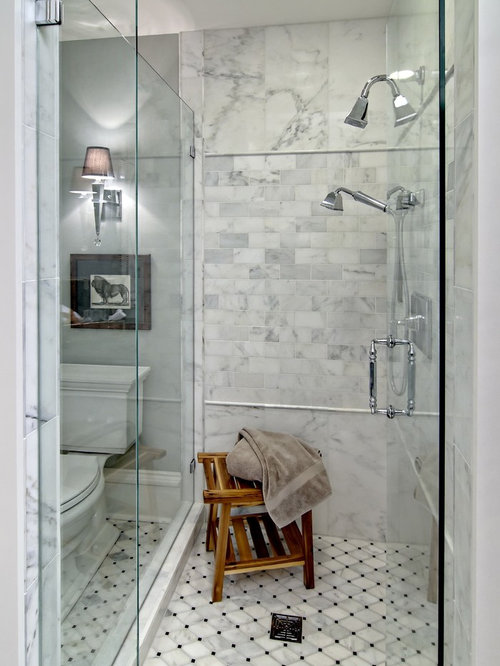 Elegant White Tile Alcove Shower Photo In Minneapolis With Raised Panel  Cabinets, Dark Wood