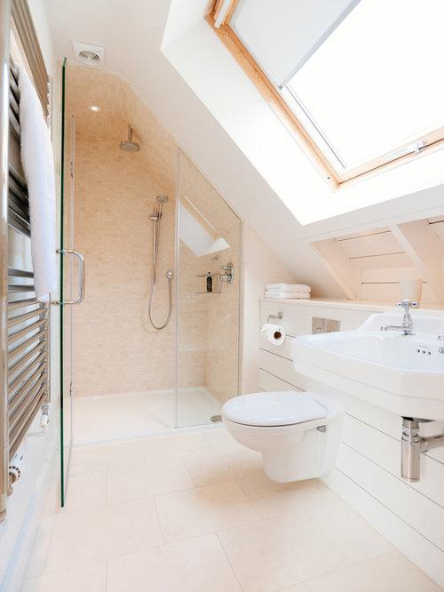 maritime badezimmer mit beigefarbenen fliesen ideen. Black Bedroom Furniture Sets. Home Design Ideas