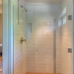 Alcove shower - small transitional master white tile and metal tile cork floor alcove shower idea in Other with flat-panel cabinets, light wood cabinets and gray walls