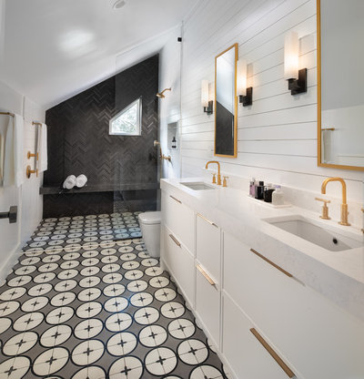 Transitional Bathroom by Four Brothers Design + Build