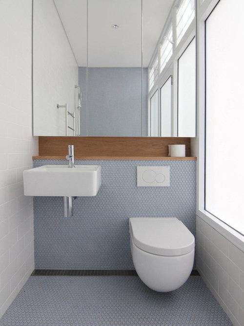 540 modern bathroom design photos with mosaic tile floors
