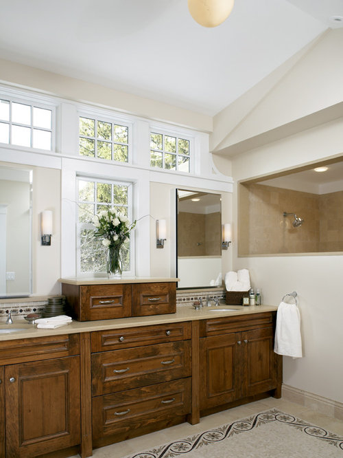 Bathroom Window Above Sink window between mirrors | houzz