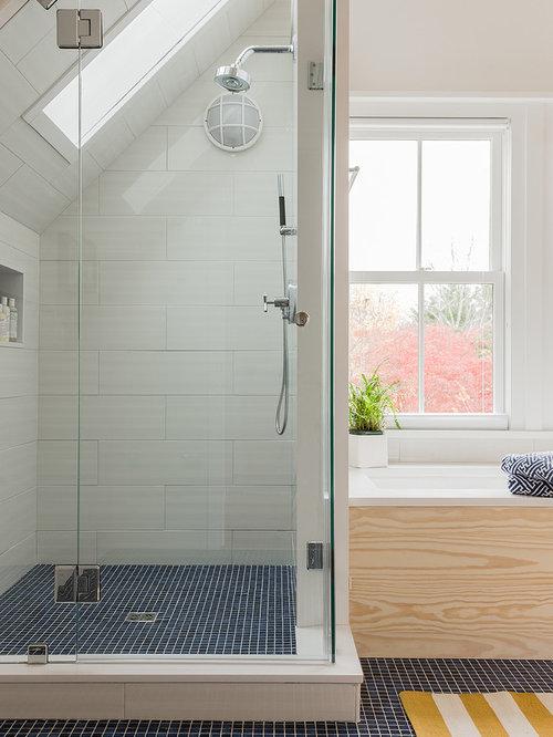 Mid sized beach style white tile and ceramic tile mosaic tile floor and  blue floor. Master Bathroom Tile Ideas   Houzz