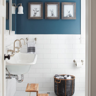 Inspiration for a farmhouse mosaic tile floor bathroom remodel in Boston with blue walls and a trough sink