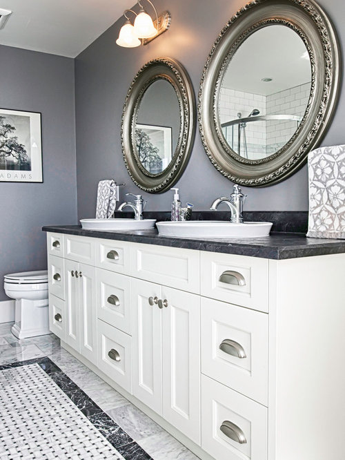Bathroom   Farmhouse Bathroom Idea In Vancouver With A Vessel Sink And  Recessed Panel Cabinets