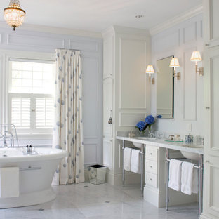 Inspiration for a timeless bathroom remodel in Boston with marble countertops