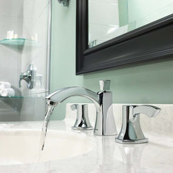 Tiber Widespread Faucet - The Tiber™ Widespread Faucet was designed to become a fixture that was elegant and delicate, but also bold enough to demand attention in the modern bathroom. By etching soft, luxurious curves into the solid, square frame of the Tiber™ widespread faucet, Speakman® created this widespread faucet to become the center of serenity in your modern bathroom.