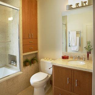 Small Trendy 3 4 Beige Tile And Travertine Limestone Floor Bathroom Photo In San