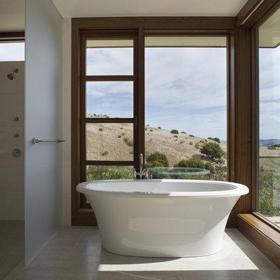 Trendy freestanding bathtub photo in San Francisco