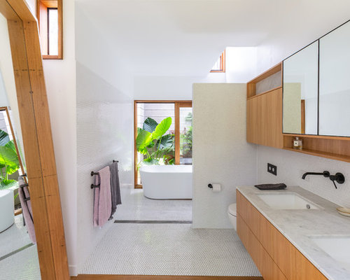 modern bathroom design. Modern Master Bathroom In Gold Coast - Tweed With Flat-panel Cabinets,  Medium Wood Modern Design