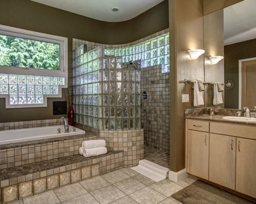 Glass block walk in shower home design ideas pictures for Bathroom designs the block