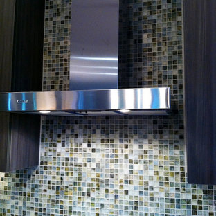 Inspiration for a mid-sized contemporary gray tile and glass tile bathroom remodel in Grand Rapids with flat-panel cabinets and dark wood cabinets