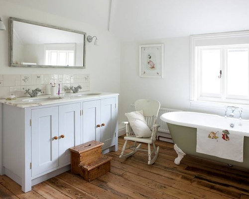 Shabby Chic Style Bathroom Idea In Surrey With An Undermount Sink, Shaker  Cabinets,