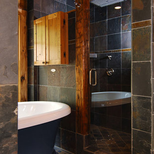 Small mountain style multicolored tile and slate tile bathroom photo in Charlotte