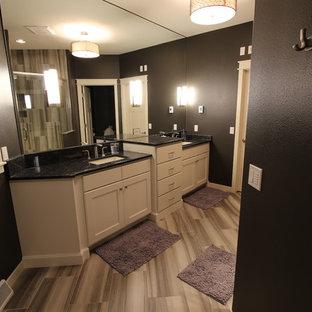 他の地域の中くらいのトラディショナルスタイルのおしゃれな浴室 (シェーカースタイル扉のキャビネット、白いキャビネット、コーナー設置型シャワー、クッションフロア、オーバーカウンターシンク) の写真