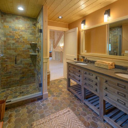 50+ Best Rustic Doorless Shower Pictures - Rustic Doorless Shower Design Ideas