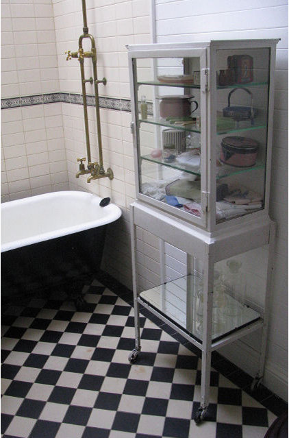 traditional bathroom Time Worn Style ~ Black & White Bathroom