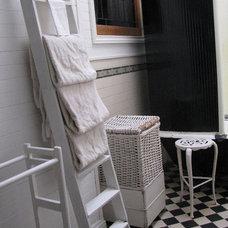 Traditional Bathroom Time Worn Style ~ Black & White Bathroom