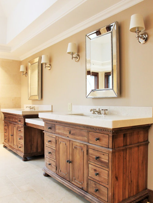 Bath Design Ideas, Pictures, Remodel & Decor with Medium Tone Wood Cabinets