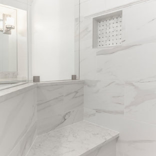 Freestanding bathtub - huge contemporary master white tile and marble tile porcelain tile and white floor freestanding bathtub idea in Atlanta with recessed-panel cabinets, white cabinets, a two-piece toilet, white walls, an undermount sink and quartz countertops