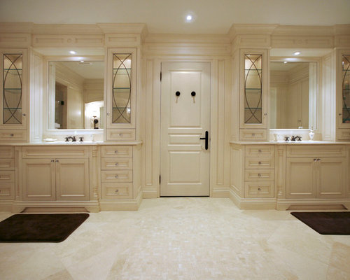 inspiration for a large timeless master bathroom remodel in toronto with recessed panel cabinets and