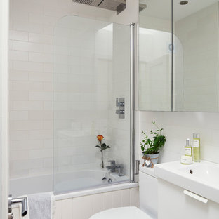 Inspiration For A Contemporary Kidsu0027 Ceramic Floor And White Floor Bathroom  Remodel In Dublin With