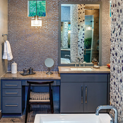 Bathroom - contemporary master multicolored tile and mosaic tile bathroom idea in Philadelphia with flat-panel cabinets, blue cabinets and an undermount sink