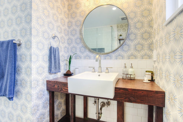Vintage, Rustic and Contemporary Elements Meet in a Guest Bath