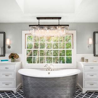 Freestanding bathtub - large transitional master freestanding bathtub idea in Los Angeles with gray walls