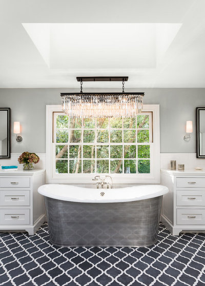 Transitional Bathroom by Robert Frank Interiors